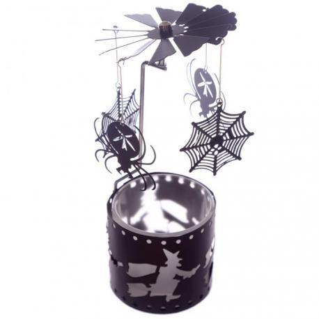 Caroussel pour lumignon ARAIGNÉE Halloween manège à bougie spider web