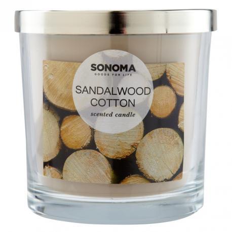 Bougie parfumée 3 mèches SANDALWOOD COTTON Sonoma candle US USA