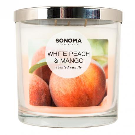 Bougie parfumée 3 mèches WHITE PEACH & MANGO Sonoma candle US USA