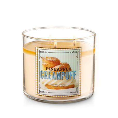 Bougie parfumée américaine 3 mèches PINEAPPLE CREAM PUFF Bath and Body Works