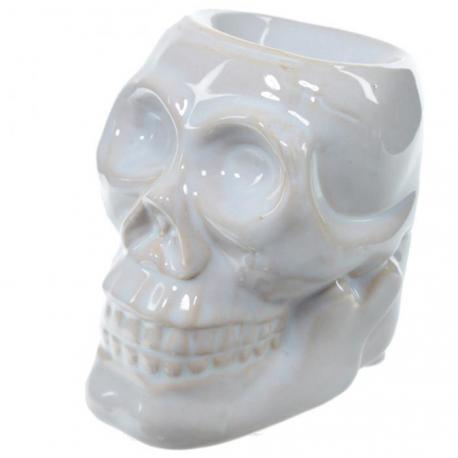Brûle parfum en céramique CRÂNE BLANC brûleur de tartelette de cire parfumée Skull