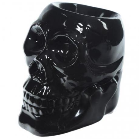 Brûle parfum en céramique CRÂNE NOIR brûleur de tartelette de cire parfumée Skull