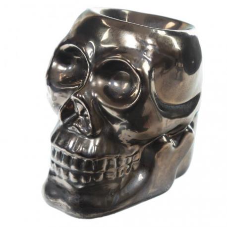Brûle parfum en céramique CRÂNE BRONZE brûleur de tartelette de cire parfumée Skull