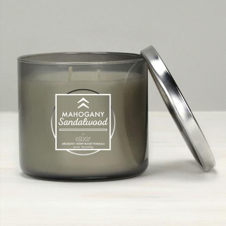 Bougie 3 mèches MAHOGANY SANDALWOOD Elixir Candle MADE IN USA