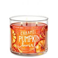 Bougie 3 mèches CARAMEL PUMPKIN SWIRL Bath and Body Works HALLOWEEN
