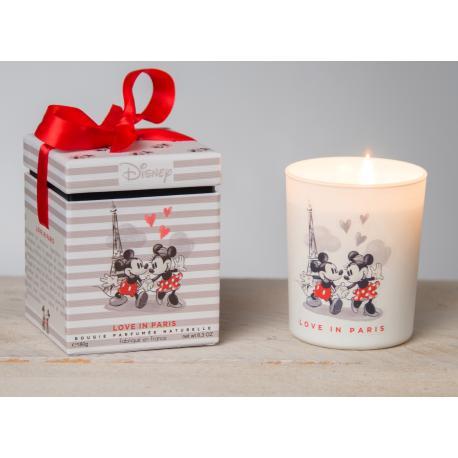 Bougie parfumée LOVE IN PARIS Disney Mickey et Minnie Amour Tour Eiffel Pomme d'amour caramélisée