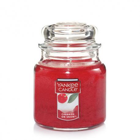 Bougie parfumée Moyenne Jarre CHERRIES ON SNOW Yankee Candle exclu US USA