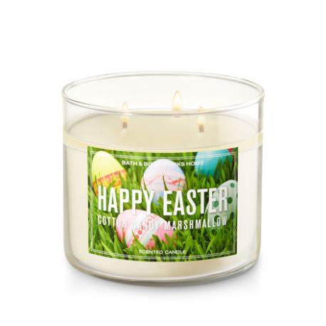 Bougie parfumée 3 mèches HAPPY EASTER COTTON CANDY MARSHMALLOW Bath and Body Works US USA Pâques 2018 Easter Difmu