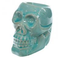 Brûle parfum en céramique CRÂNE BLEU Brûleur de tartelette pour cire parfumée Skull