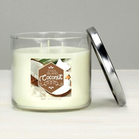 Bougie 3 mèches COOL ISLAND COCONUT Elixir Candle Made in USA