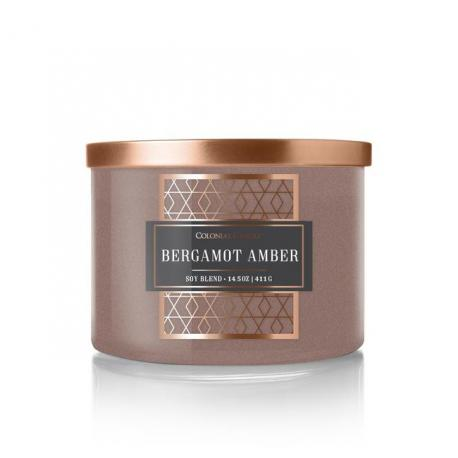Bougie 3 mèches BERGAMOT AMBER Colonial Candle