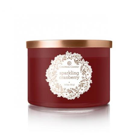 Bougie 3 mèches SPARKLING CRANBERRY Colonial Candle