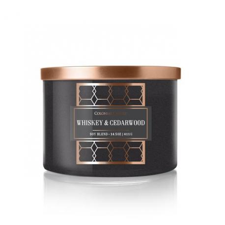 Bougie 3 mèches WHISKEY AND CEDARWOOD Colonial Candle