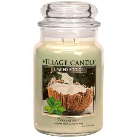 Bougie parfumée Grande Jarre 2 mèches COCONUT MINT Village Candle