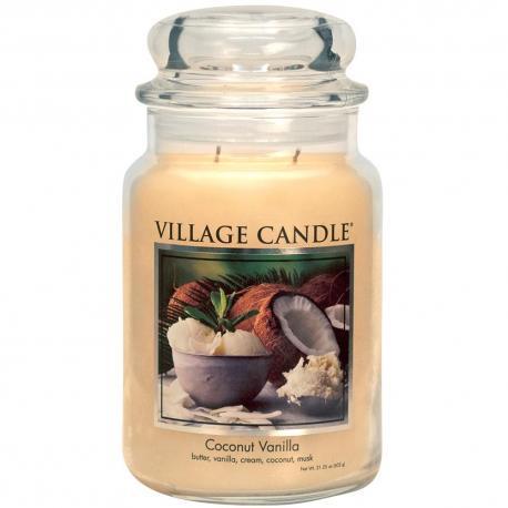 Bougie parfumée Grande Jarre 2 mèches COCONUT VANILLA Village Candle exclu US USA